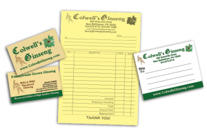 Colwells ginseng business cards forms mailing labels