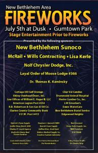 Fireworks poster New Bethlehem