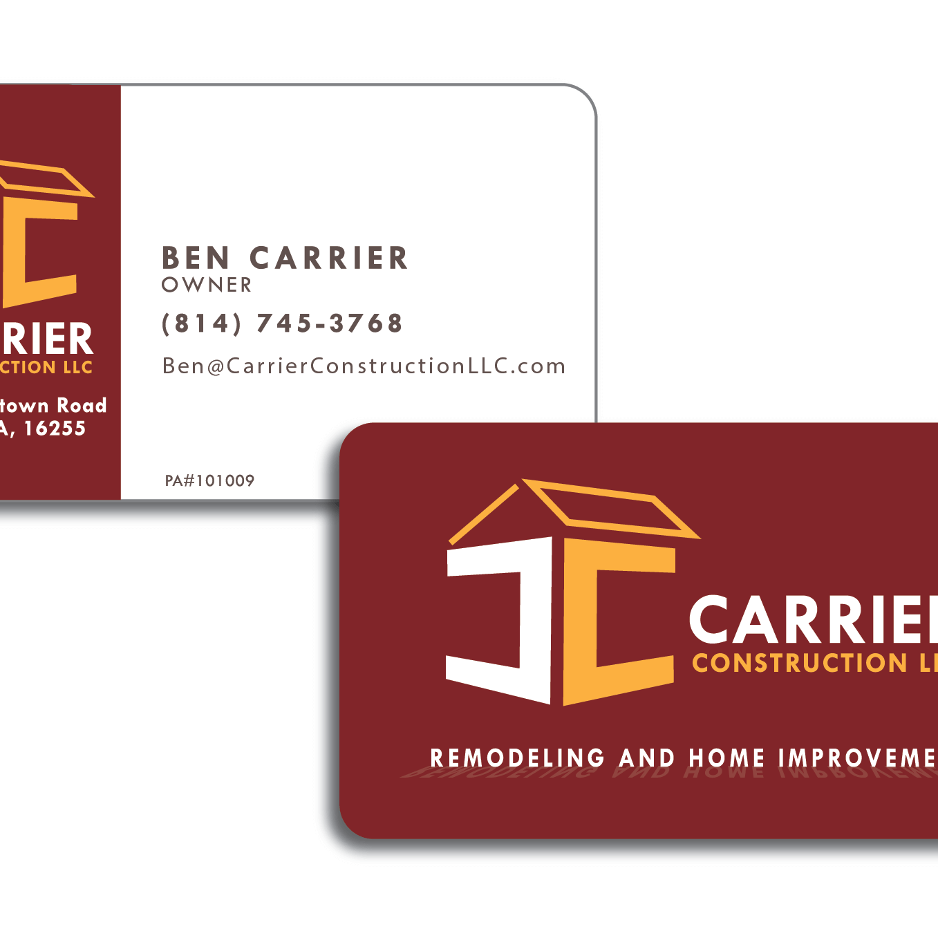 Business Card Design for Carrier Construction in Sligo PA